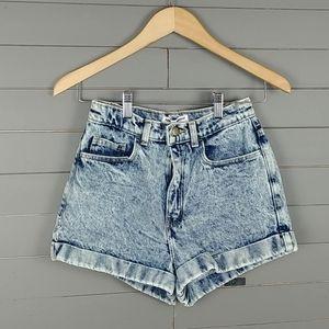 American Apparel Acid Wash High Waist Mom Shorts